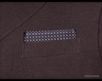 Silk Pocket Square, Silk Pocket Handkerchief, Blue and Silver Geometric Pocket Square, Mod Style, Suit, Dandy, Mens Pocket Handkerchief
