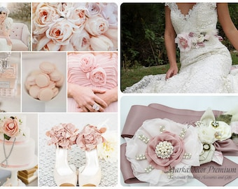 Bridal Sash Blush Pearl Wedding Sash Bridesmaids Beaded Custom Belt in Ivory, Dusty Pink, Rose Pink, Blush, Nude, Champagne