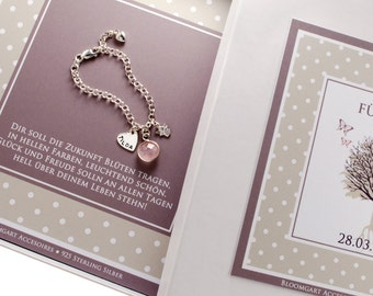 Baptism bracelet engraved with guardian angels and gift box