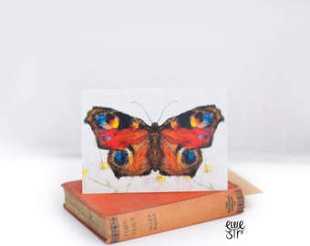 butterfly card, peacock card, vintage butterfly