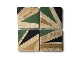 Earth Tone Coasters - Natural Tumbled Stone - Green Gold and Black - MAN CAVE Decor