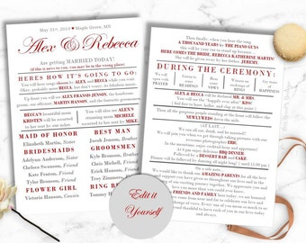 Funny Wedding Program Instant download, ***best seller***, relaxed wedding program, DIY wedding program, bride on a budget, simple wedding