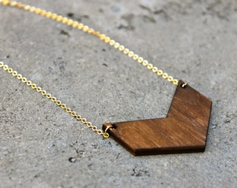 Chevron Wood Necklace // 16K Gold // Minimal Necklace // Layering Necklace // Geometric Necklace // Arrow Necklace