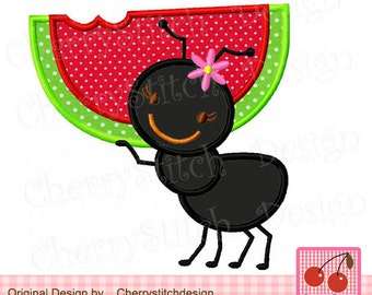 Watermelon Picnic Ant, 4th of July embroidery applique SUM005 -4x4 5x5 6x6 inch-Machine Embroidery Applique Design
