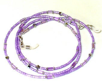 Necklace, bracelet, lilac, silver 79 cm (85)
