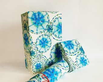 gift wrapping printed paper roll RAINDROPS blue green 24x33 inch A1 size - set of 3