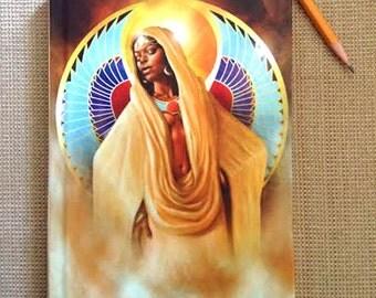 Journal, Diary, Hardcover Notebook, Kemetic, Egyptian, African American Art, Black Woman, Goddess, Maat, Isis, Afrofutrism, Sheeba Maya