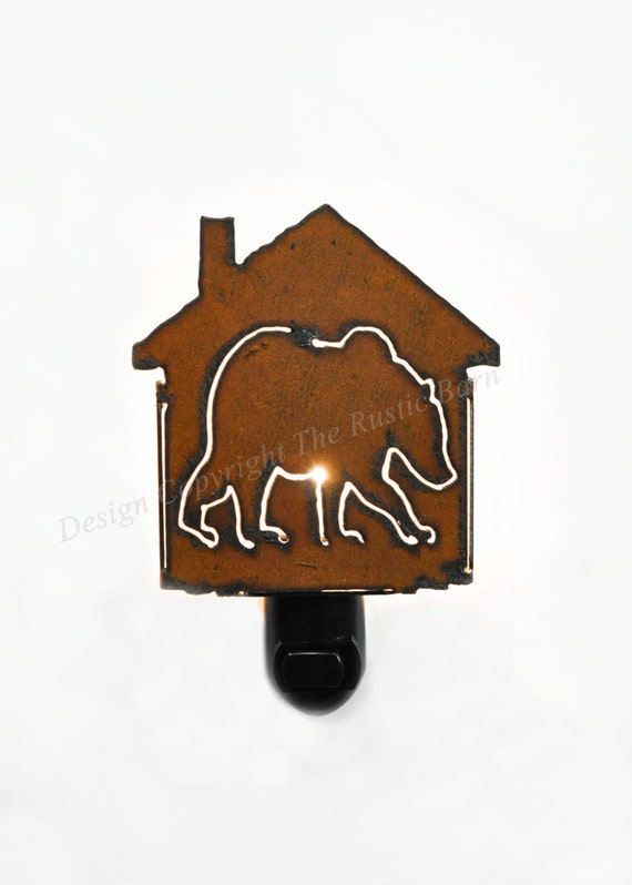 BEAR or GRIZZLY BEAR nightlight night light made of Rustic Rusty Rusted Recycled Metal