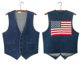 1970's denim American flag vest