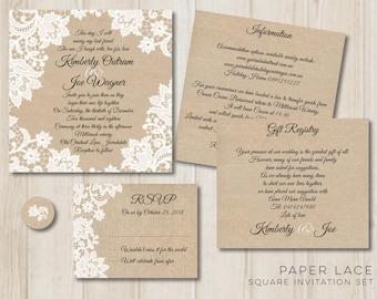 Paper Lace Square Invitation set - Digital Printable File - DIY Wedding Invite PDF