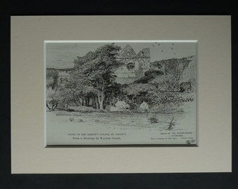 1890s Antique Welsh Print of St David's Bishop's Palace by Walter Crane, Available Framed, Cadw Art, Old Church Ruins, Pembrokeshire Decor
