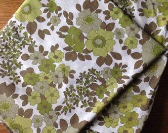 Retro Green Floral Double Duvet Cover