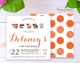 Forest Animals Child's Birthday Invitation - Baby, Toddler, Kid's Woodland Birthday Party Invite - Into the Woods Party - Digital File