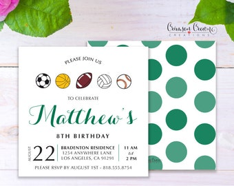 Sports Child's Birthday Invitation - Baby, Toddler, Kid's Athlete Birthday Party Invite - Football Baseball Party - Digital File