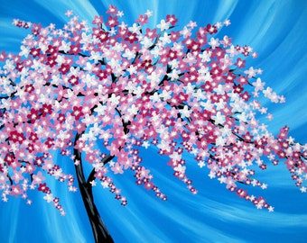 "Japanese cherry blossom tree, painting of a cherry blossom tree, cherry blossom painting, painting from Australia, Australian art, 36"" x 24"""