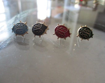 Lot of 4 Vintage Little LadyBugs / Various Colors / Blue, Black, Red, Green / Insect Pins / Brooches Bugs Pins Insect Brooch Vintage