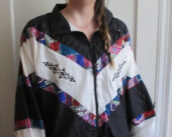 Vintage Funky Black and White Jacket with Colorful Detail Geometric Detail Pattern 80's 90's