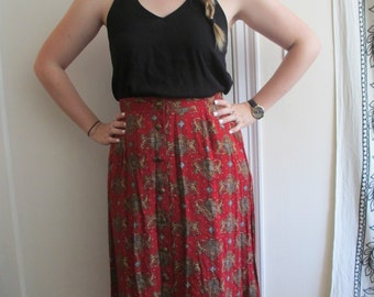 Vintage Red and Gold Lion Crest Repeating Pattern Button Down Long Skirt