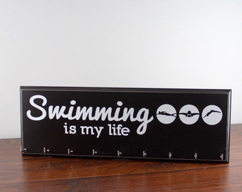 Swimming Ribbons hanger - display your swim ribbons and medals - swimming is my life