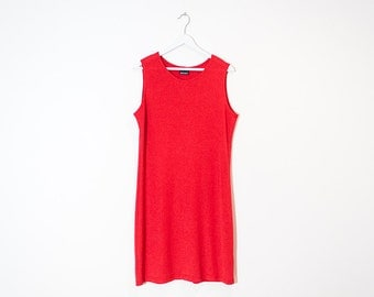 shimmery red knit shift dress / sleeveless knee length dress / size L
