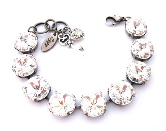 Swarovski Crystal Elements Tennis Bracelet, 14mm Large Stones, Clear Crystals, Heart and Key Charms, Siggy Jewelry, FREE SHIPPING