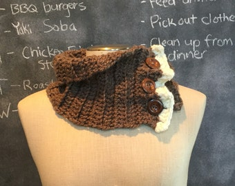 Crocheted chunky cowl in brown and cream, button up chunky cowl, crocheted ruffled cowl scarf