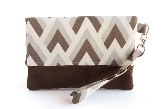 Brown Chevron Fold Over Clutch, Herringbone Fold Over Wristlet, Striped Fabric Bag, Faux Suede, Tan, Gray, and Brown, Handmade