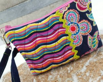 Quilted Wristlet, Colorful Floral Phone Case