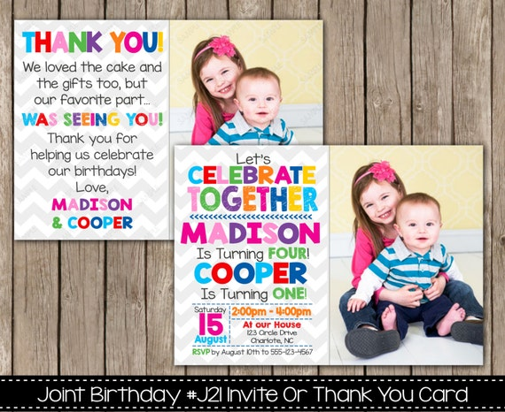 Joint Birthday Party Invitation Or Thank You Card Siblings