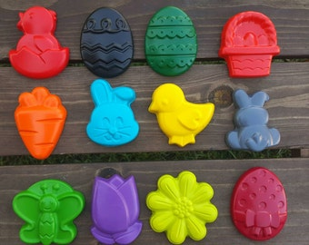 Easter Crayons set of 12 - Spring Crayons - Chunky Crayons - Jumbo Crayons - Egg Crayons - Bunny Crayons - Party Favors