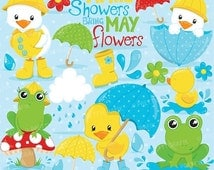 80% OFF SALE April showers clipart commercial use, duck and frog vector graphics, april digital clip art, digital images - CL824