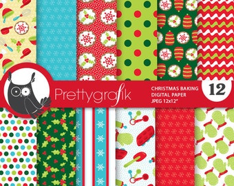 80% OFF SALE Christmas baking digital paper, commercial use, scrapbook papers, background chevron - PS762