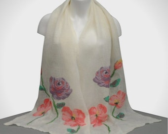 Gift boxed long white nuno felted scarf with floral decoration