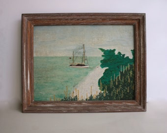 Vintage Original Ship Oil Painting