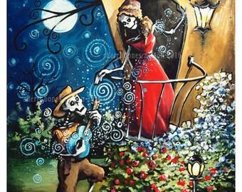 Skeleton Romance Art Print Romeo Juliet Serenade Day of the Dead Mexican Folk Art Serenade Music Guitar Mariachi Balcony Scene painting art