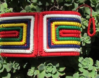 Vintage Telephone Cord Purse Clutch Small Handbag Red White Blue Yellow Green