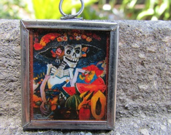 Katrina Day of the Dead Skeleton Pendant Arte de Mexico necklace