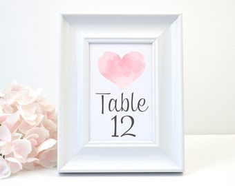 PRINTED Wedding Table Number, White Shimmer, Script, Calligraphy, Heart, Watercolor, Pink, Grey, Rustic, Simple, WATERCOLOR HEART Design