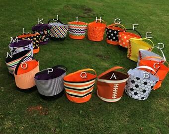 Monogrammed Halloween bag,  Halloween bucket, Beach tote, treat or trick bag, Sand bucket, baby gift