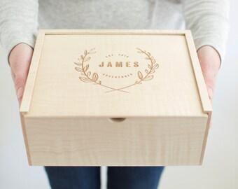 Keepsake Box - Wooden Box - Wedding Card Box - Photo Box - Bridesmaid Gift - Memory Box - Wooden Photo Box - Gifts for Her-Baby Keepsake Box
