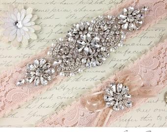 Blush Lace Garter Set, Lace Wedding Garter Set, Bridal Garter Set, Rhinestone Garter, Crystal garter, Lace Bridal Garter