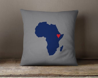 Custom African Map Throw Pillow and Cover-Titanium-Navy Blue-Red-Customize with ANY Colors-Available in 14x14-16x16-18x18-20x20-14x20-26x26