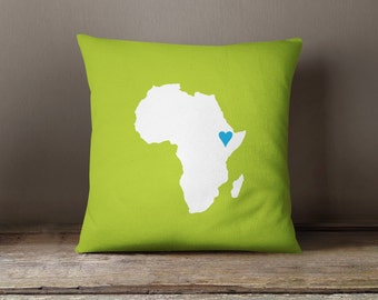 Custom African Map Throw Pillow & Cover-Bright Chartreuse-Turquoise-Customize w/ANY Colors-Available in 14x14-16x16-18x18-20x20-14x20-26x26