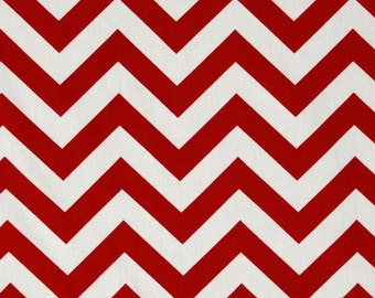 Lipstick and White Chevron Zig Zag Premier Prints Fabric - One Yard - Red and White Home Dec Fabric