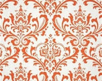 Traditions Slub Tangelo Premier Prints Fabric - One Yard - Orange and White Home Decor Fabric
