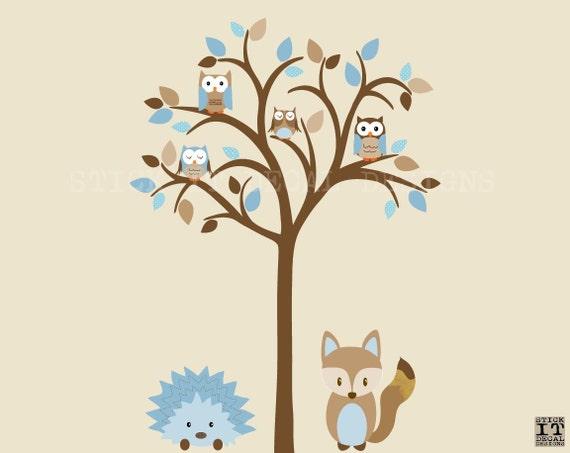 Autocollant arbre chouette hibou arbre mural sticker renard for Autocollant mural arbre