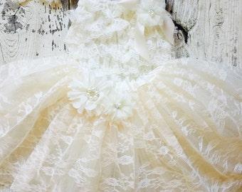 Ivory Lace Tutu and Romper 3 piece Set