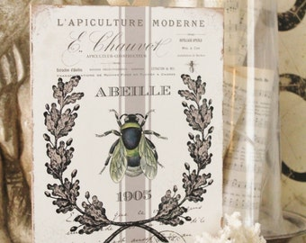 Vintage French Bee Wood Sign Farmhouse Decor Grainsack Book Page Wall Art Print