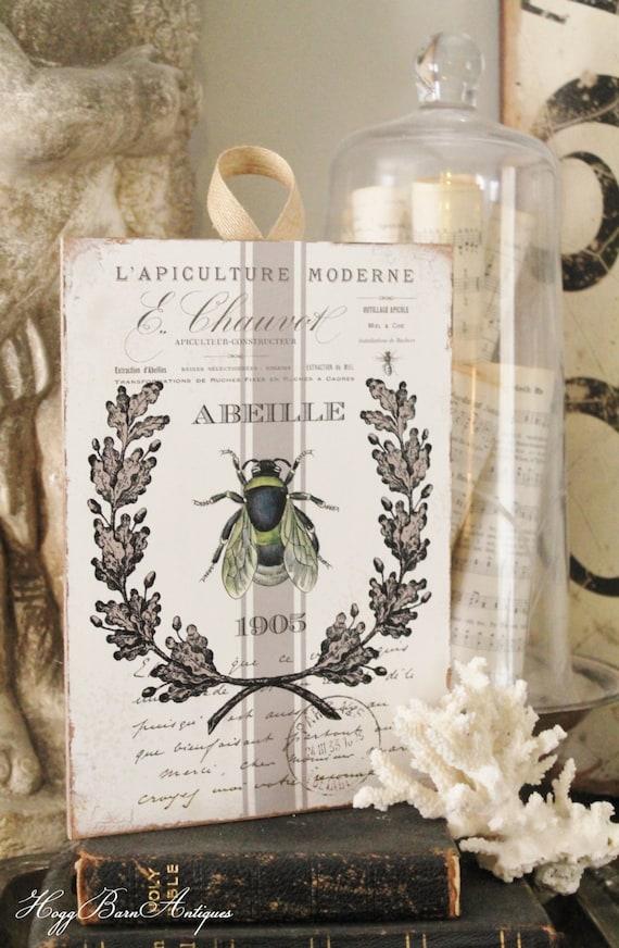 Vintage French Bee Wood Sign Farmhouse Decor Grainsack Book