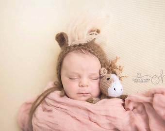 Mohair Pony Horse Bonnet Photography Prop  Animal Hat